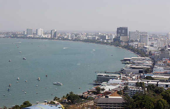 A view shows the beach town of Pattaya, nearly 150km east of Bangkok, in Thailand.
