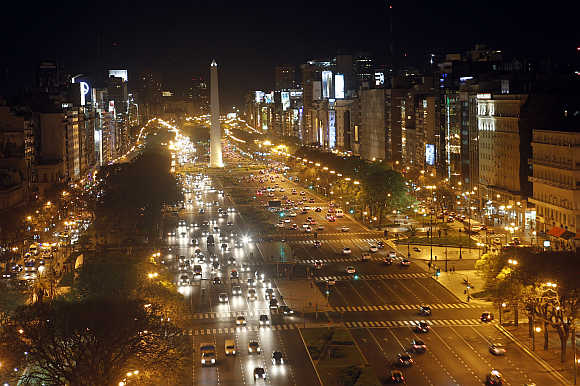 A view of the Buenos Aires' 9 de Julio Avenue with the Obelisk in the background in Argentina.