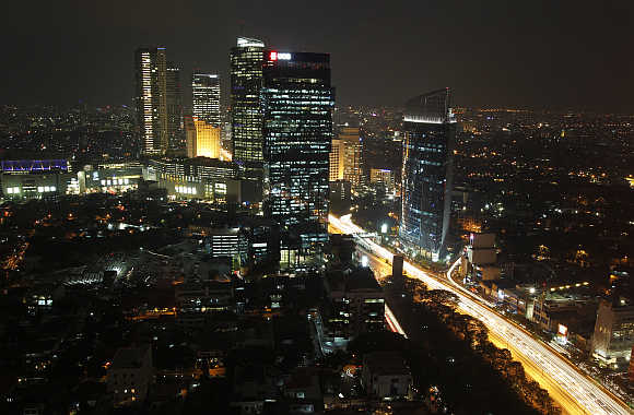 An aerial view of Indonesia's capital Jakarta.