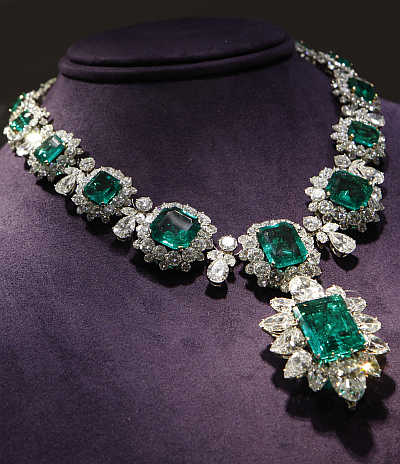 An emerald and diamond necklace by Bvlgari at Christie's auction of Elizabeth Taylor's collection in Los Angeles, United States. The necklace is expected to bring $1.5 million.