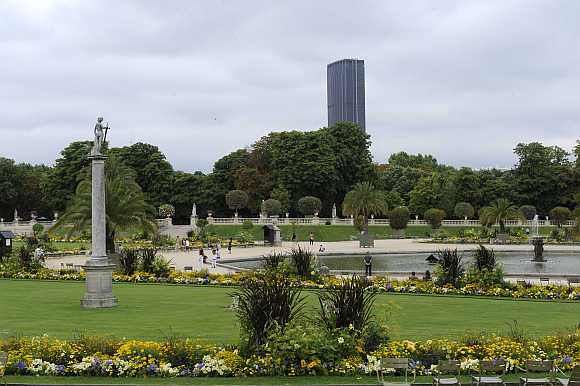 A view of Montparnasse Tower from the Luxembourg Gardens in Paris, France.
