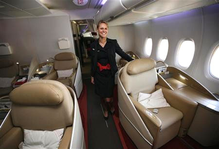 File photo of an Air France KLM flight attendant in the first class cabin of the Airbus A380 aircraft during a hand-over ceremony at the manufacturer's site in Finkenwerder near Hamburg.