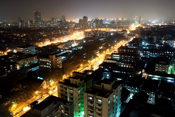 An aerial view of a central district of Mumbai.