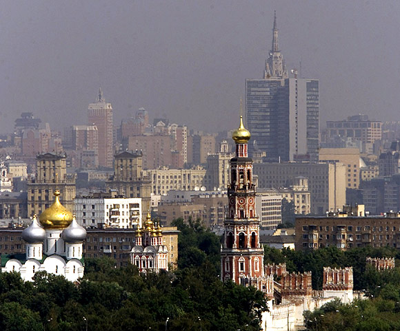 A view of downtown Moscow shows the city covered in smoke from turf fires.