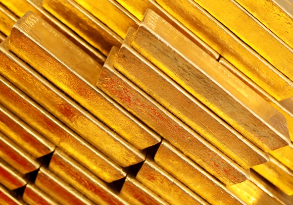 Gold bars are seen at the Czech National Bank in Prague.