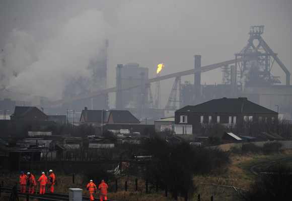The Corus steelworks at Redcar, Teesside, northern England.