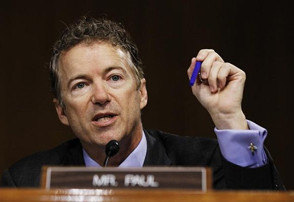Senator Rand Paul (R-KY) speaks during a Senate homeland security and governmental affairs investigations subcommittee hearing on offshore profit shifting and the U.S. tax code related to Apple Inc, on Capitol Hill in Washington.