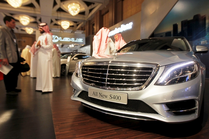 A Mercedes-Benz S400 is displayed at a luxury cars exhibition in the Saudi capital Riyadh October 29, 2013.
