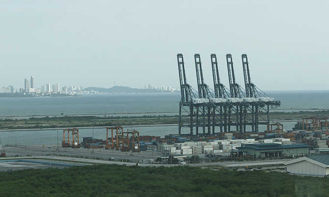 A view of Laem Chabang port in Chonburi province, east of Bangkok, Thailand.