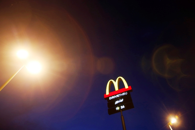 The corporate logo of McDonald's Corp fast food chain is seen on display in the Malaysian town of Pekan.