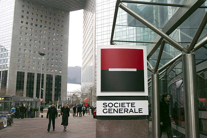View of Societe Generale's headquarters in La Defense near Paris.