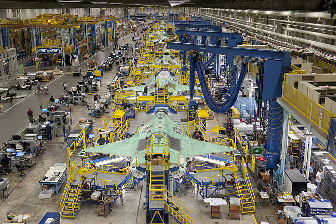Workers can be seen on the moving line and forward fuselage assembly areas for the F-35 Joint Strike Fighter at Lockheed Martin Corp's factory located in Fort Worth, Texas.