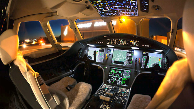 The cockpit of a business jet.