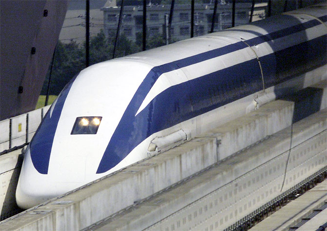 Japan's superconducting linear motor Maglev makes a test run on the Maglev Test Line in Yamanashi.