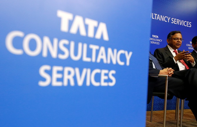 Tata Consultancy Services Chief Executive N Chandrasekaran speaks during a news conference in Mumbai.