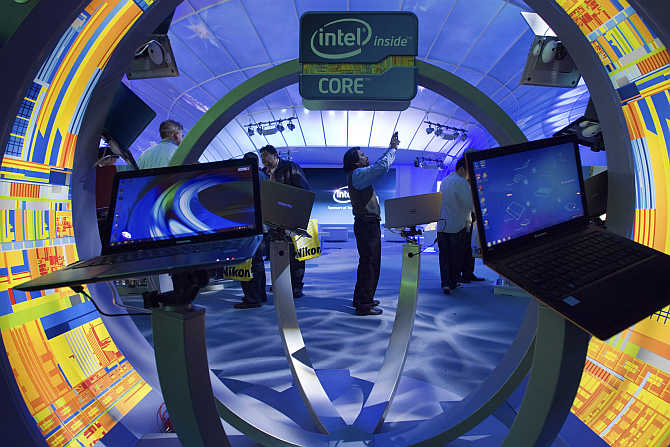 A view of Intel booth at the International Consumer Electronics Show in Las Vegas, Nevada.