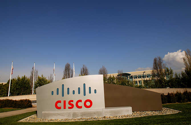 The Cisco logo is displayed at the technology company's campus in San Jose, California.