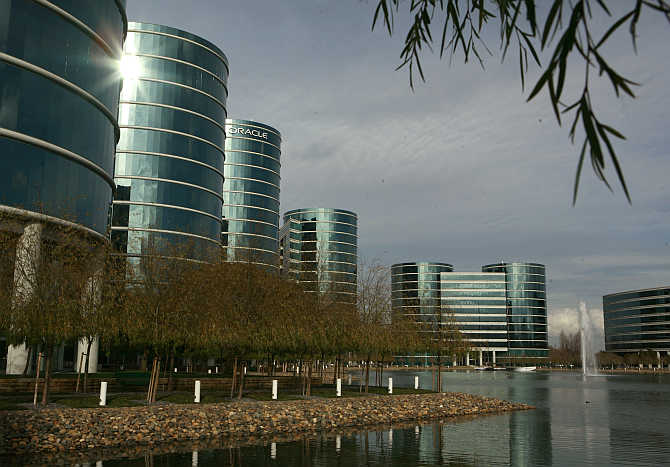 Headquarters of Oracle Corporation in Redwood City, California.