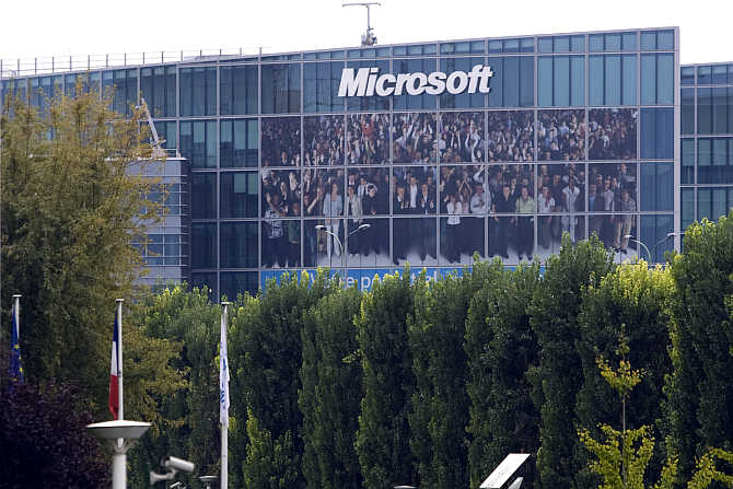A view of Microsoft's headquarters in Issy-les-Moulineaux near Paris, France.
