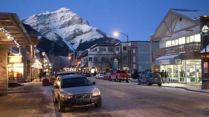 An early evening view of downtown Banff, Alberta, Canada.