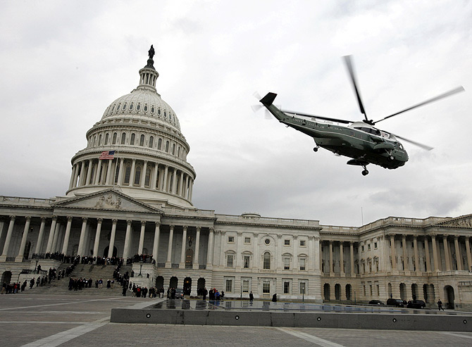 A Marine helicopter lifts off from the East Front of the U.S. Capitol Building in Washington.