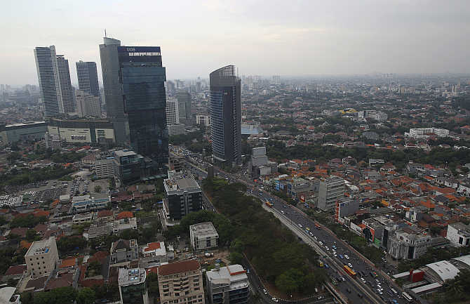 An aerial view of Indonesia's capital city of Jakarta, Indonesia.