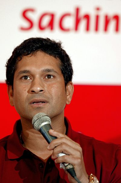Sachin Tendulkar speaks during a promotional event for health food products in Mumbai.