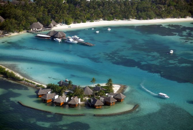 An aerial view shows a resort island at the Male.