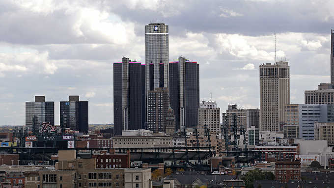 A view of General Motors World Headquarters, centre, in Detroit, Michigan.
