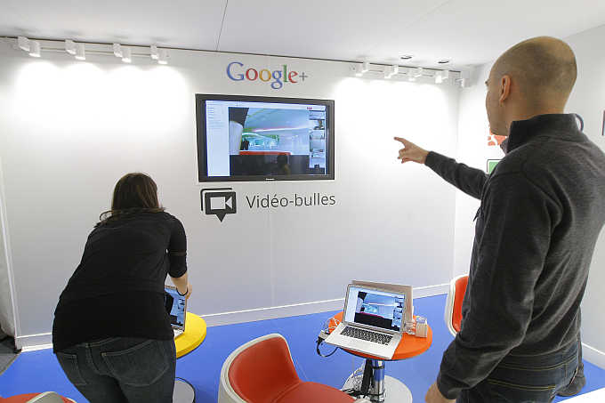 A video hangouts stand is pictured at the headquarters of Google France in Paris.