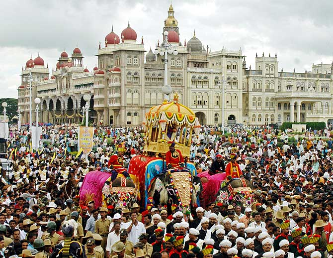 People attend the annual Dussehra celebration in Mysore about 148 km (92 miles) south of the southern Indian city of Bangalore