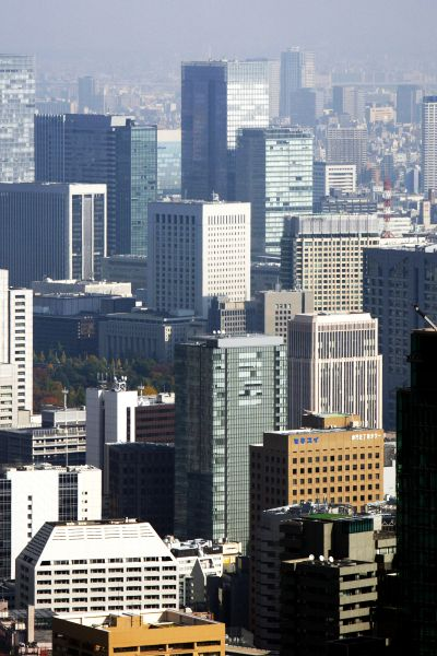 A cluster of high-rise buildings in the Marunouchi district is seen in Tokyo.
