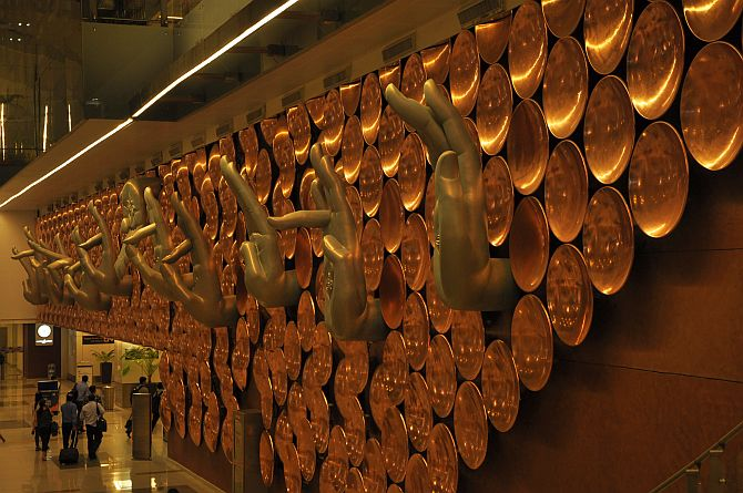 Nine Mudras by Ayush Kasliwal at the T3 Terminal Indira Gandhi International Airport Delhi.