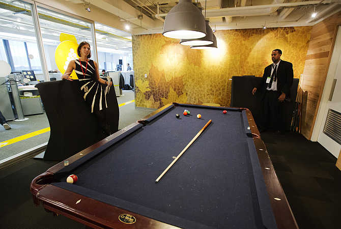 Billiards room at the Google office in Toronto, Canada.