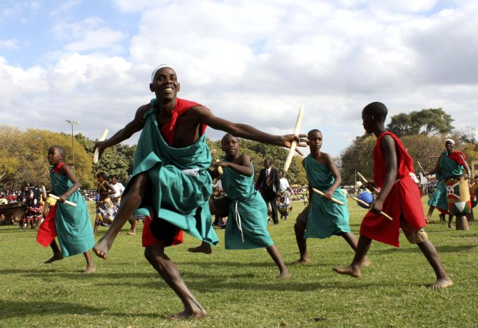 Burundian refugees entertain show goers at the annual Agricultural and Commercial show in Lusaka.