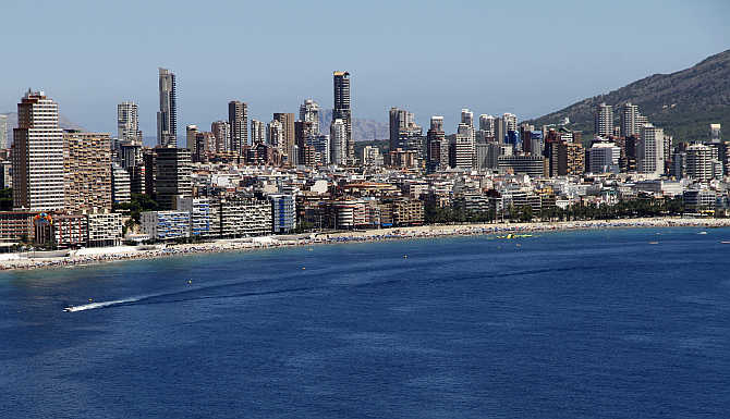 A view of the Spanish eastern coastal village of Benidorm near Alicante.