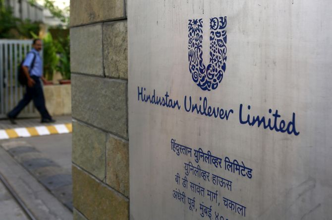 A man arrives at the Hindustan Unilever Limited headquarters in Mumbai.