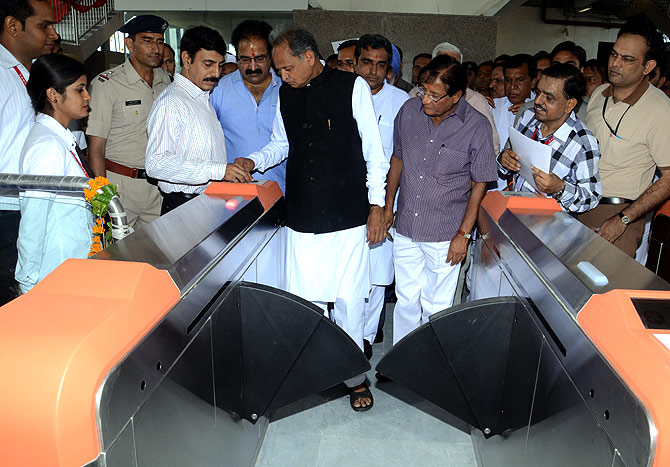 Rajasthan Chief Minister Ashok Gehlot at the Metro station.