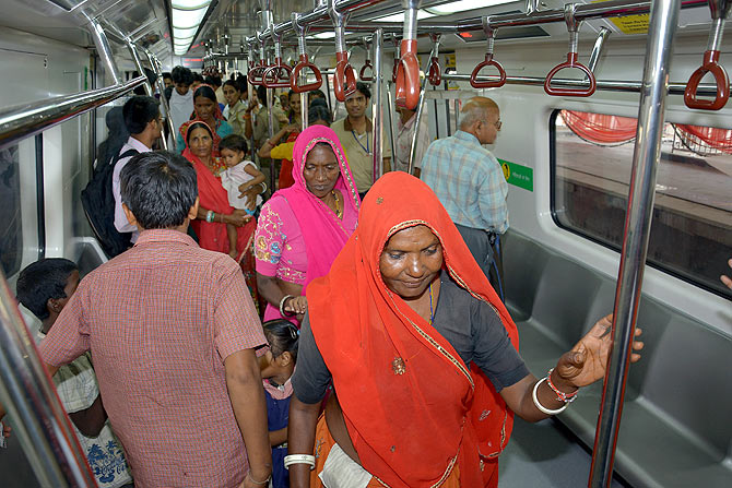 People inside the Metro train.