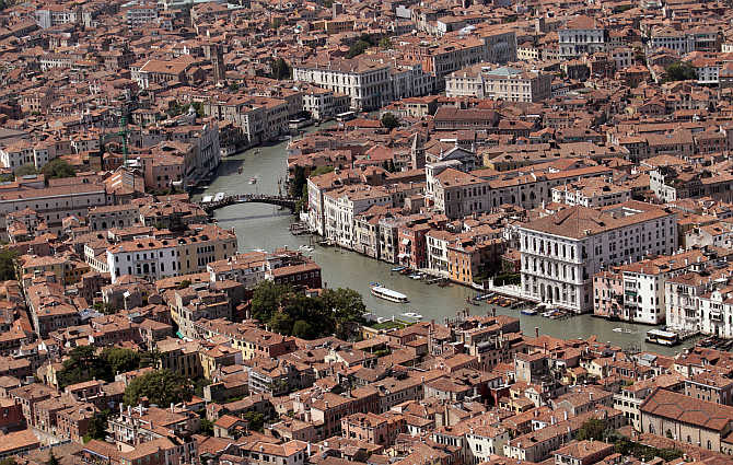 An aerial view shows the Gran Canal in Venice lagoon, Italy.