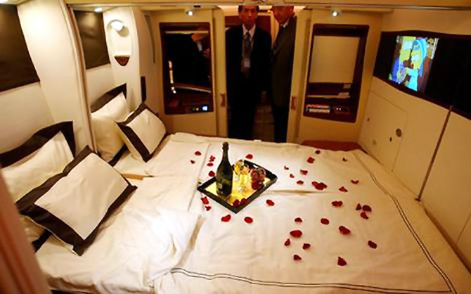 A first class bed on the Singapore Airlines Airbus A380 superjumbo.