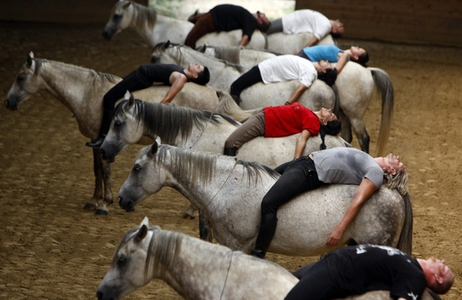 Riders practice for a show on their horses at a farm in Kaposmero, 190 km west of Budapest, Hungary.
