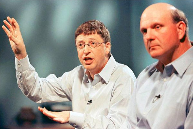 Bill Gates with Steve Ballmer in March, 1999.