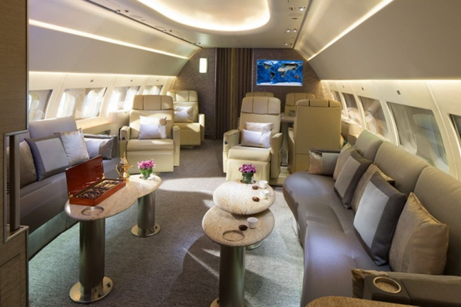 Emirates' Airbus ACJ319 aircraft for chartered VVIP service features private suites, lounge areas and a shower.