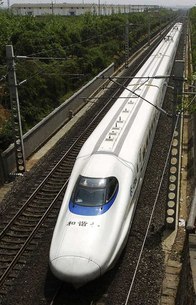 A bullet train speeds past during a test operation in China.