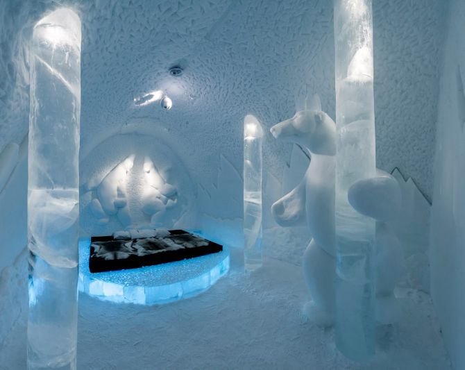 Guest accommodation at the Sweden's Ice Hotel.