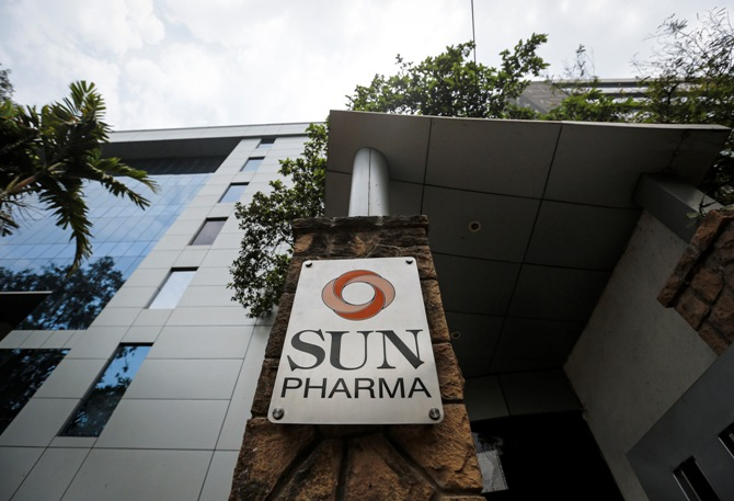 A logo of Sun Pharmaceutical Industries Ltd at its research and development centre in Mumbai.