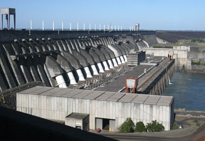 A view of the Itaipu Hydroelectric dam, the world's largest operational electricity generation.