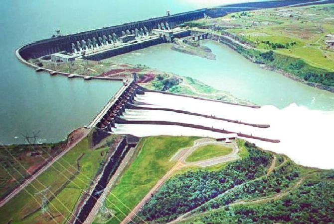 Ariel view of Itaipu Dam.