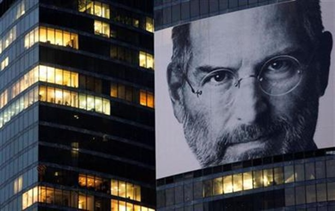 A portrait of Steve Jobs is placed on the Federation Tower skyscraper in Moscow's new business district.